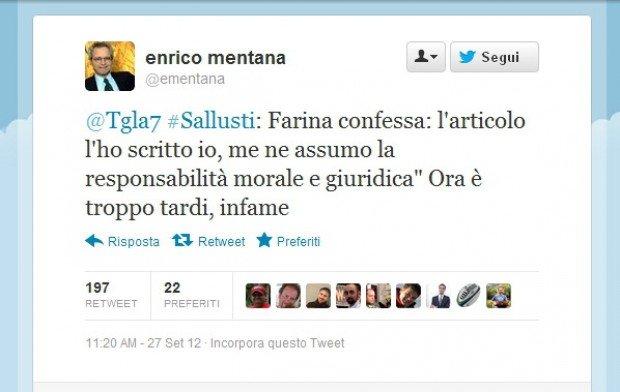 Mentana insulta Renato Farina